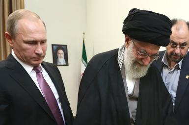 Iran's Ali Khamenei and Russian President Vladimir Putin in Tehran. September 8, 2018
