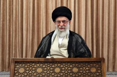 Iran's Ali Khamenei delivering his speech from state television. May 2, 2021