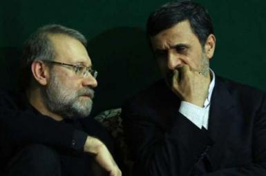 Ali Larijani (L) and Mahmoud Ahmadinejad. FILE