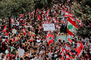 Popular protests in Lebanon triggered by financial crisis. Undated