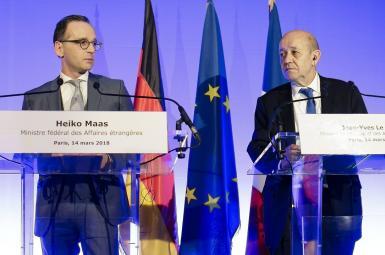 هایکو ماس وزیرخارجه آلمان (چپ) و ژان-ایو لو دریان وزیرخارجه فرانسه