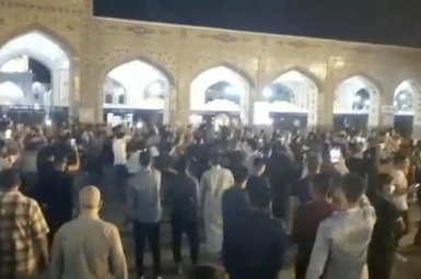A video grab from protests in Iran's Khuzestan province. July 16, 2021