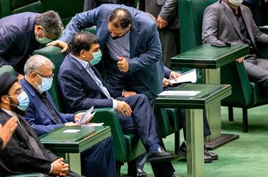 Ministers and officials of president Raisi's government in parliament. August 25, 2021