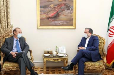 EU representative Enriqu Mora and Iran's deputy foreign minister Abbas Araghchi. August 4, 2021