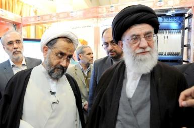 Heydar Moslehi (L) with Iran's Ali Khamenei. File Photo