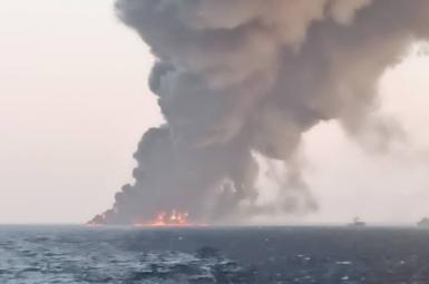 Photo showing Iran's largest naval vessel on Fire. June 1, 2021