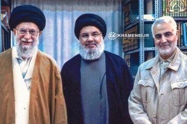 Hezbollah's Hassan Nasrallah (C) with Ali Khamenei and Qasem Soleimani (R). Published September 25, 2019