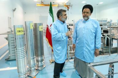 Iran's Intelligence Minister Mahmoud Alavi (R) at Natanz nuclear facility. FILE