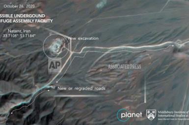 Satellite image showing new construction at Iran's  Natanz nuclear site. October 26, 2020