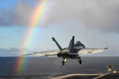 An F-18 takes off from USS Harry S. Truman. October 25, 2018