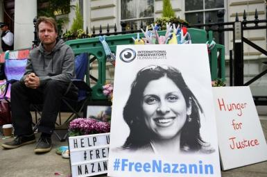 Richard Ratcliffe, Nazanin's husband protesting outside the Iranian embassy in London in 2019