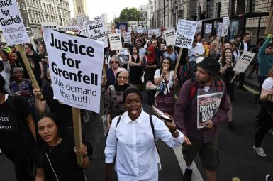 تظاهرات در اعتراض به آتش سوزی برج گرنفل