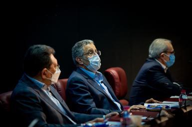 Masoud Khansari (C) chairman of Tehran Chamber of Commerce. FILE PHOTO
