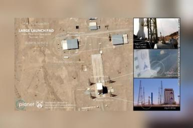The image shows preparation at the Imam Khomeini Spaceport in Iran's Semnan province on June 20, 2021