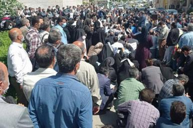 Retirees protest in Tehran demanding higher pensions. April 18, 2021
