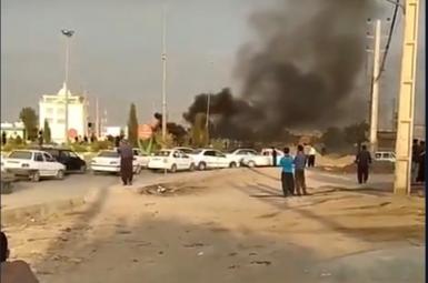 Protesters in Kermanshah, western Iran, burning tires to block roads. July 26, 2021
