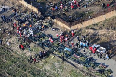 The scene of Ukrainian flight 752 after Iran shot down the plane near Tehran. January 8, 2020