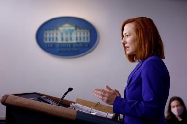 Jen Psaki, White House spokesperson giving a press briefing. March 8, 2021
