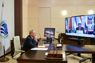 Russian President Vladimir Putin participating in the Shanghai pact summit via video link. September 16. 2021