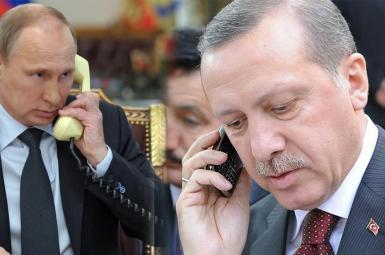 ولادیمیر پوتین، رئیسجمهور روسیه و رجب طیب اردوغان، رئیسجمهور ترکیه در تماسی تلفنی