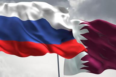 russia and qatar flags