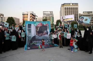A rally in Tehran for Ebrahim Raeesi, with banner showing him with Qasem Soleimani. June 14, 2021
