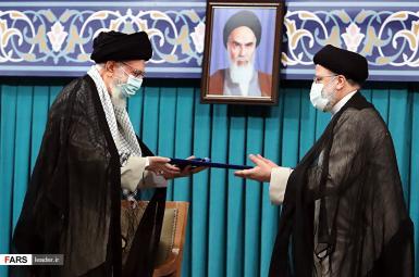 Ali Khamenei during President Ebrahim Raisi's endorsement ceremony. August 3, 2021