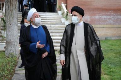 Former president Hassan Rouhani handing over power to Ebrahim Raisi. August 3, 2021