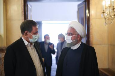 Hassan Rouhani (R) and his vice president Es'haq Jahangiri. File