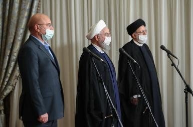 Iran's Speaker of Parliament, President and head of Judiciary (L-R) - FILE