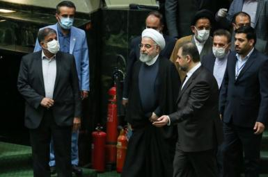 Iranian President Hassan Rouhani visiting parliament as new members are sworn in. May 27, 2020