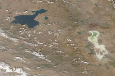 دریاچه ارومیه در مهر ۱۳۹۷ / تصویر از ناسا