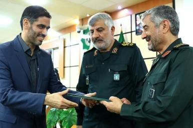 Saeed Mohammad (L) receiving his command of Khatam al-Anbiya. October 7, 2018