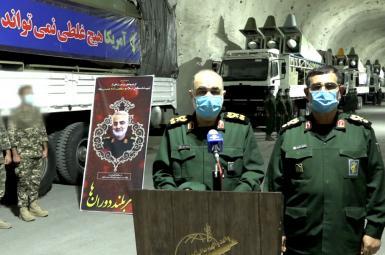 IRGC commander Hossein Salami and navy commander Alireza Tangsiri at a missile base. January 8, 2021