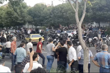 A large protest in Tabriz to support protesters in Iran's oil-rich Khuzestan Province. July 25, 2021