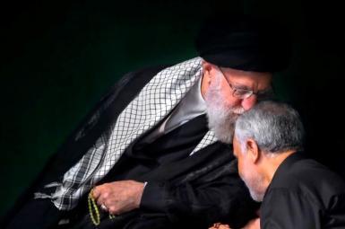 Supreme Leader Ali Khamenei kissing Qasem Soleimani during a religious ceremony. September 19, 2018