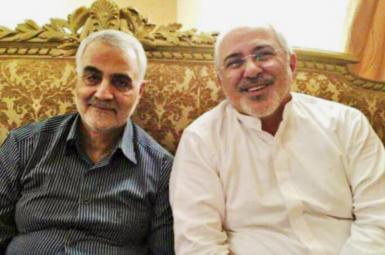 Qasem Soleimani and Mohammad Javad Zarif in May 2017. FILE
