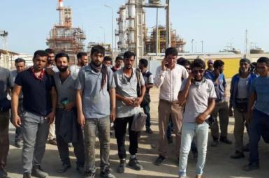 Refinery workers on strike in southern Iran. June 27, 2021
