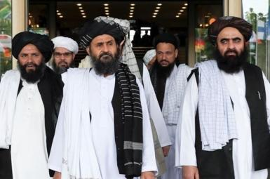 A Taliban delegation during peace talks in Qatar. FILE PHOTO