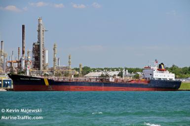 Thalassa Desgagnes tanker, now called the Asphalt Princess, in Sarnia, Ontario, Canada June 19, 2016