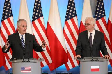 نشست خبری رکس تیلرسون، وزیر امور خارجهی آمریکا و همتای لهستانیاش، در ورشو