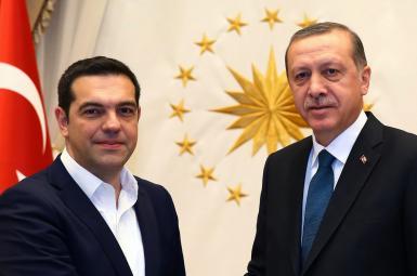 رجبطیب اردوغان، رئیس جمهوری ترکیه و الکسیس سیپراس، نخستوزیر یونان