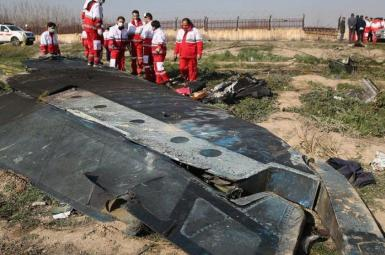 The wreckage of a Ukrainian plane downed by Iran. Janyary 8, 2020