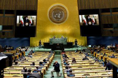 Iran's President Ebrahim raisi addressing the UN General Assembly. September 21, 2021
