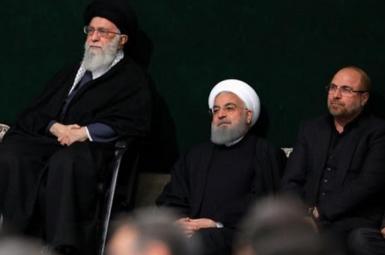 Iran's President Hassan Rouhani (C), with Ayatollah Ali Khamenei (L) and Parliament Speaker Mohammad Ghalibaf. FILE