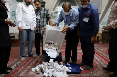 A ballot box opened for counting in Tehran. June 19, 2021