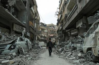 Destruction in Syria's opposition Ghouteh region. FILE PHOTO