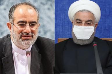Senior presidential advisor Hesamoddin Ashena (L) and President Hassan Rouhani