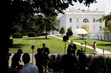 Reporters waiting for the Biden-Bennett meeting at the White House. August 26, 2021