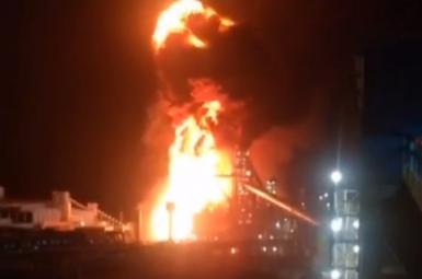 A steel mill engulfed in fire in Iran's Kerman province. June 5, 2021